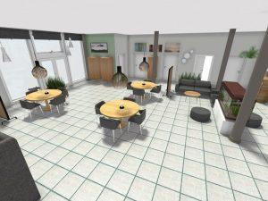 3D tegning af multi-rummet med nye møblerings -plan, farver, belysning m.m.